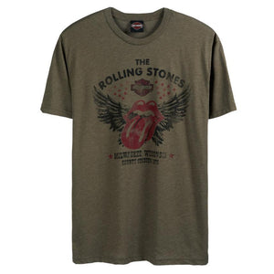 Warrs H-D® Mens Rolling Stones Military Green Short Sleeve Tee T-Shirts
