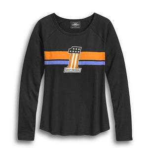 Harley-Davidson® Women's #1 Striped Long Sleeve Tee