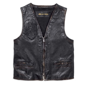 Harley-Davidson® Mens Iron Distressed Slim Fit Leather Vest - 98009-18Vm Vests