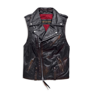 Harley-Davidson® Womens Swingarm Leather Biker Vest - 98035-18Vw Vests