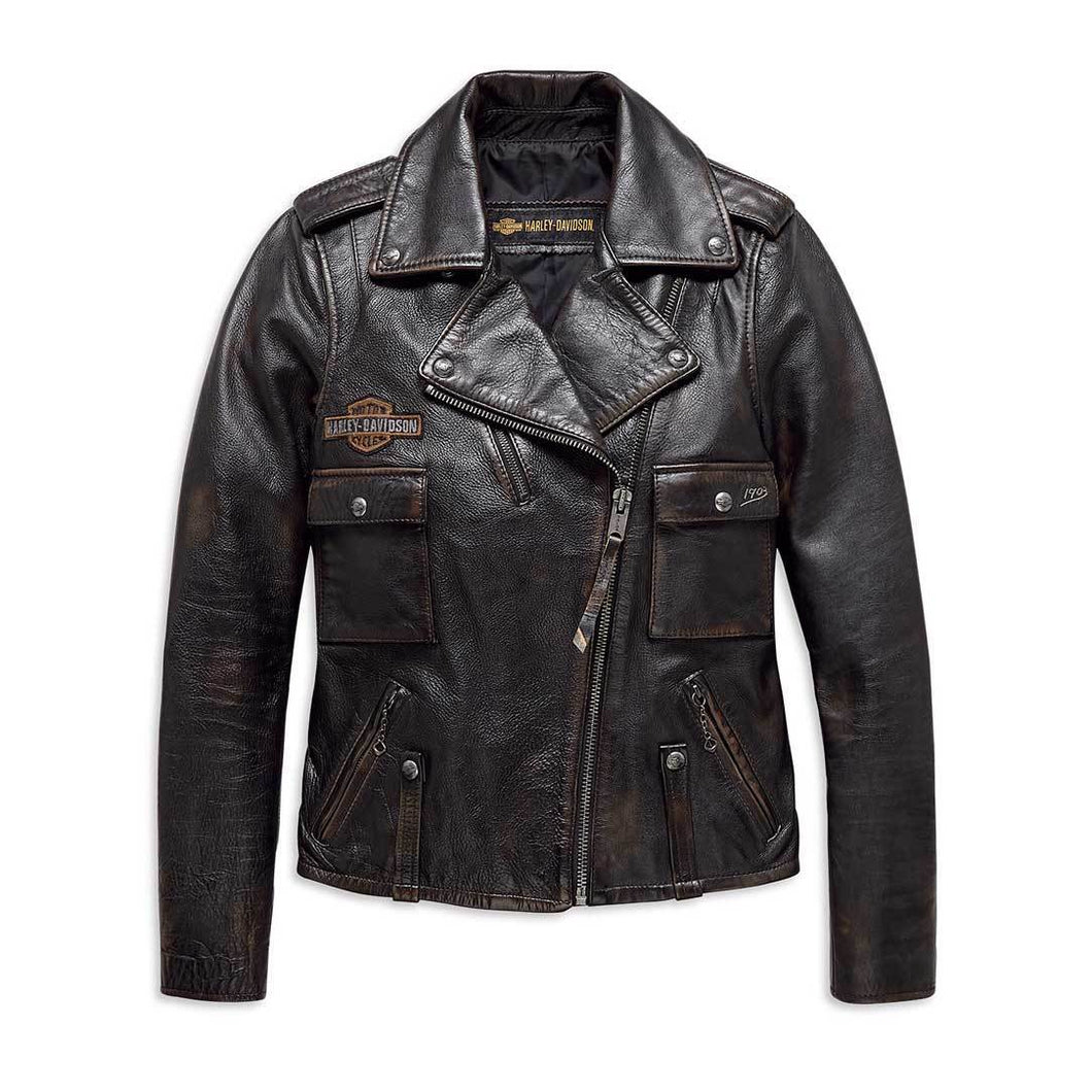 Harley-Davidson® Womens Eagle Logo Distressed Leather Biker Jacket - 98076-19Vw Casual Jackets