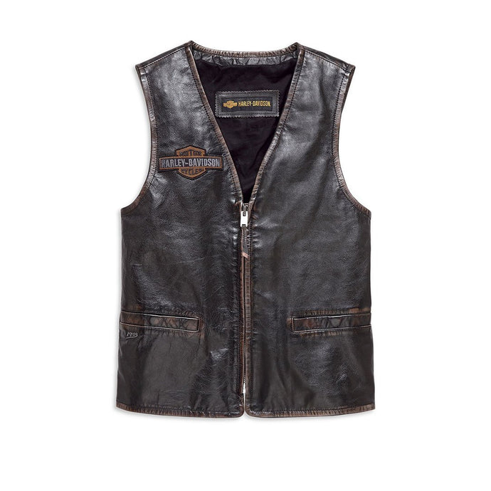Harley-Davidson® Mens Eagle Distressed Slim Fit Leather Vest - 98078-19Vm Vests