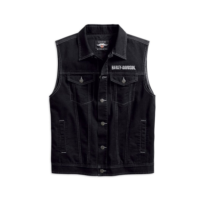 Harley-Davidson® Mens Upright Eagle Denim Vest - 98415-19Vm Vests