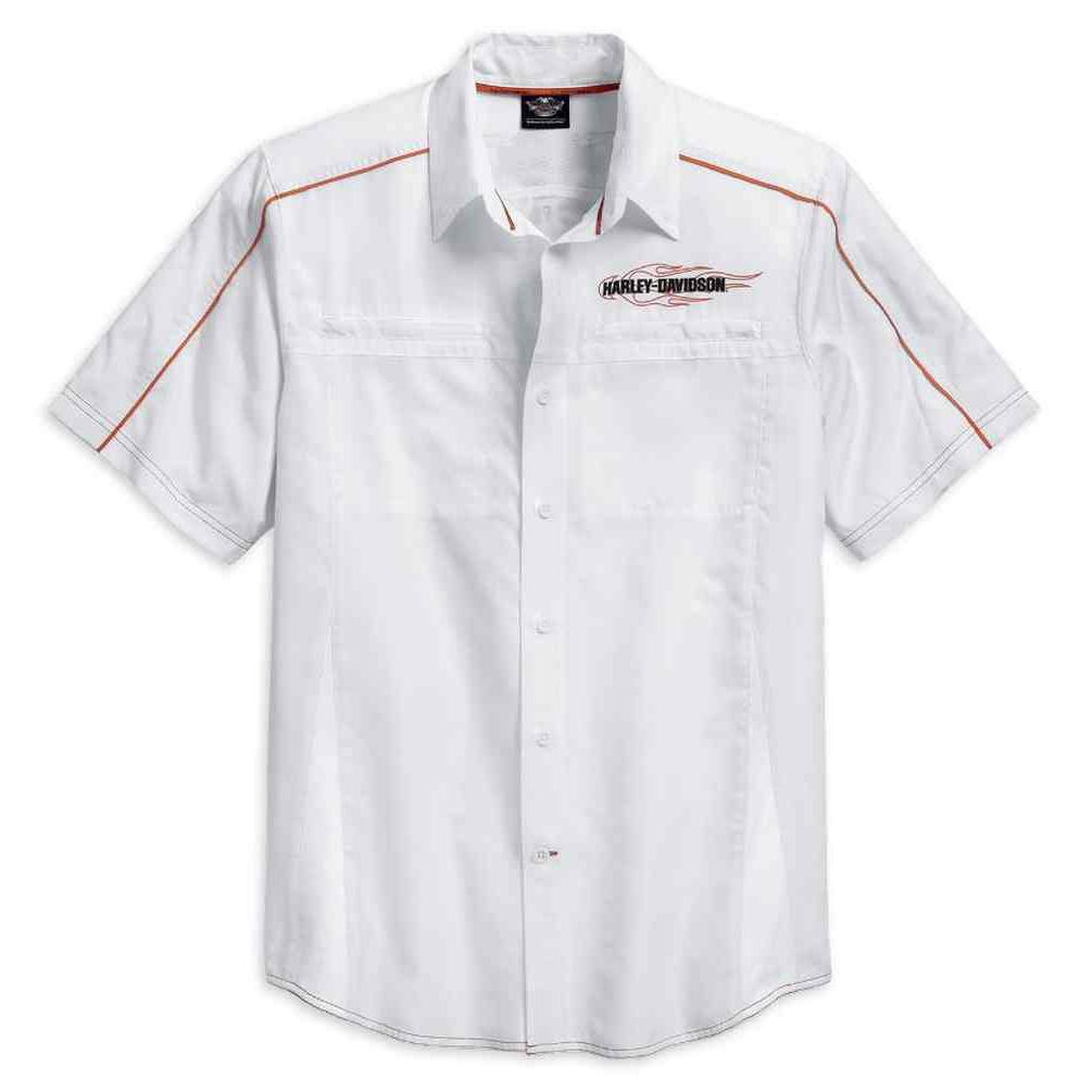 Harley-Davidson® Mens White Vented Performance Flames Shirt - 99035-15Vm Shirts