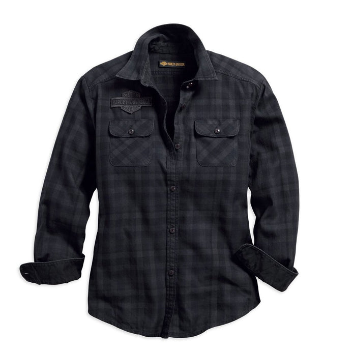 Harley-Davidson® Womens Applique Plaid Flannel Relaxed Fit Shirt - 99035-18Vw Shirts