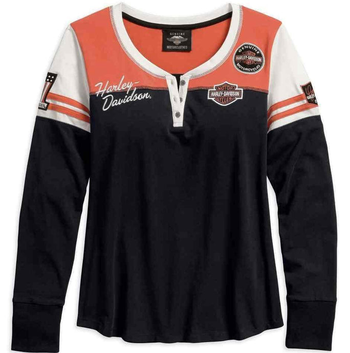 Harley-Davidson® Womens Classic Colorblock Henley - 99075-18Vw Henleys