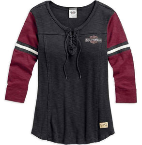 Harley-Davidson® Womens Genuine Laced Neckline Tee - 99105-17Vw Long Sleeve Tees