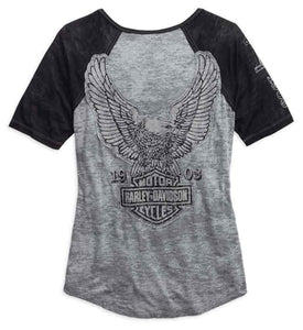 Harley-Davidson® Womens Eagle Raglan Sleeve Top - 99108-15Vw T-Shirts