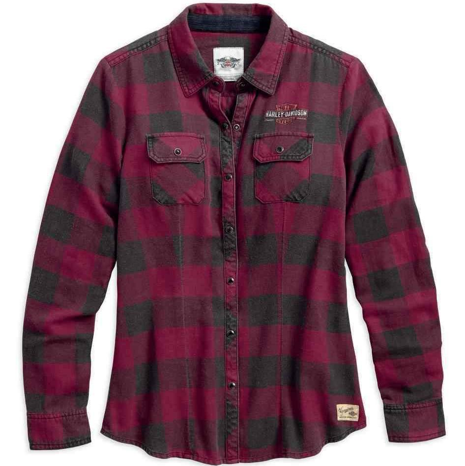 Harley-Davidson® Womens Genuine Laced Yoke Plaid Shirt - 99109-17Vw Shirts