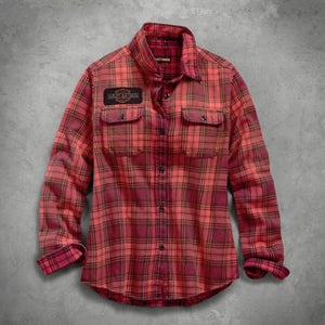 Harley-Davidson® Womens Laser Cut Logo Plaid Shirt - 99123-19Vw Shirts