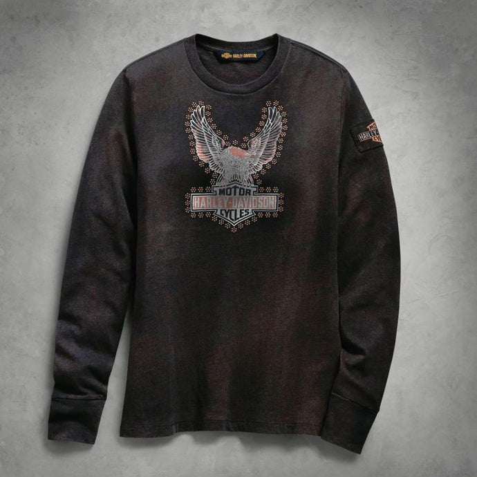 Harley-Davidson® Womens Studded Distressed Eagle Tee - 99124-19Vw Sweatshirts