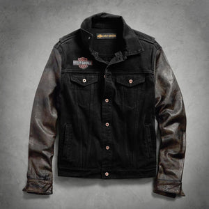 Harley-Davidson® Mens Leather Sleeve Slim Fit Denim Jacket - 99183-19Vm Casual Jackets
