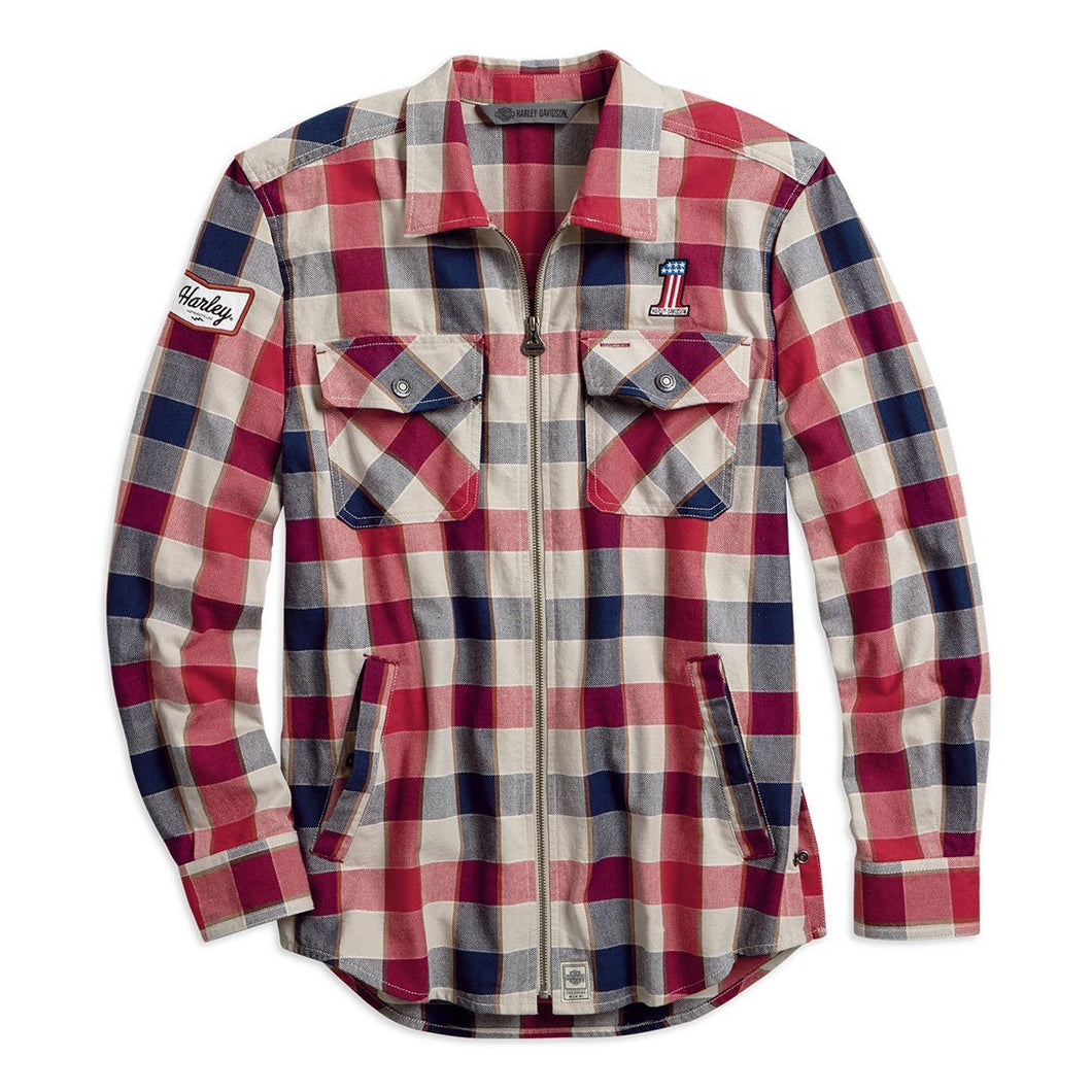 Harley-Davidson® Mens #1 Plaid Zippered Slim Fit Shirt - 99194-19Vm Shirts