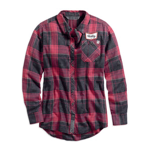 Harley-Davidson® Womens #1 Skull Plaid Shirt - 99219-19Vw Shirts
