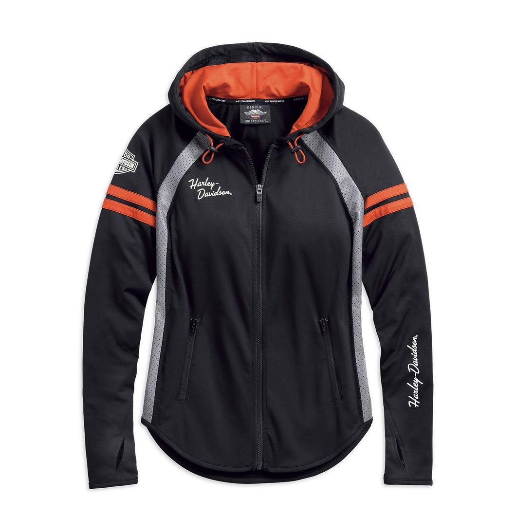 Harley-Davidson® Womens Performance Mesh Accent Hoodie - 99242-19Vw Hoodies