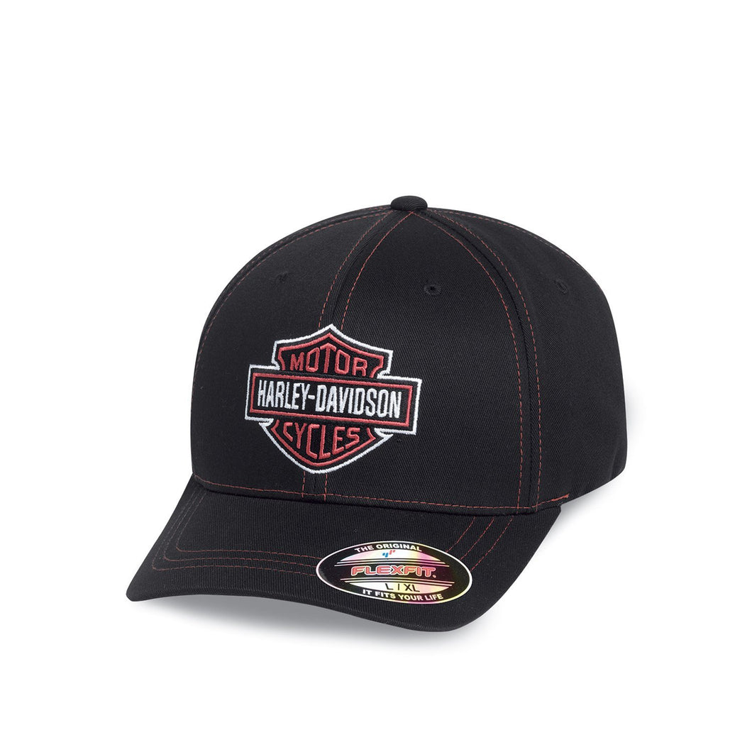 Harley-Davidson® Mens Contrast Stitch Logo Stretch Cap - 99419-16Vm Accessories