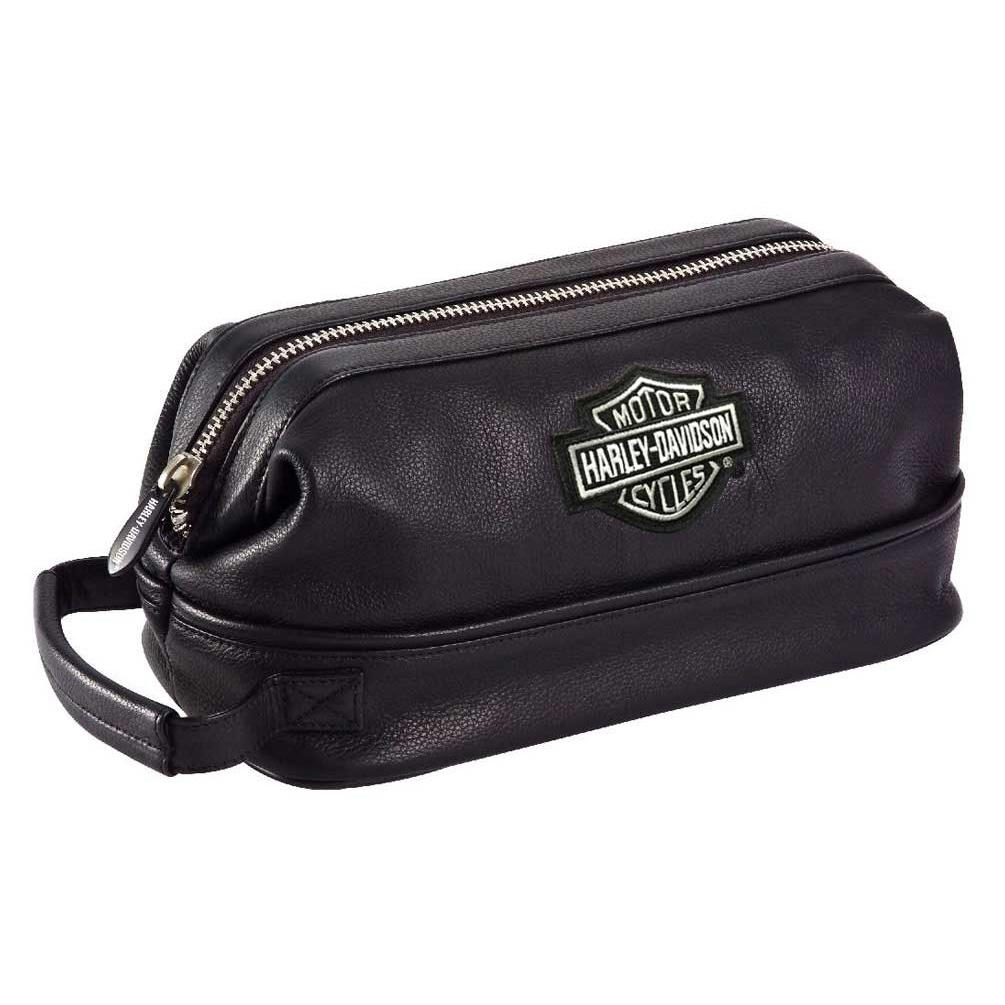 Harley-Davidson® Bar & Shield Distressed Leather Toiletry Kit Black
