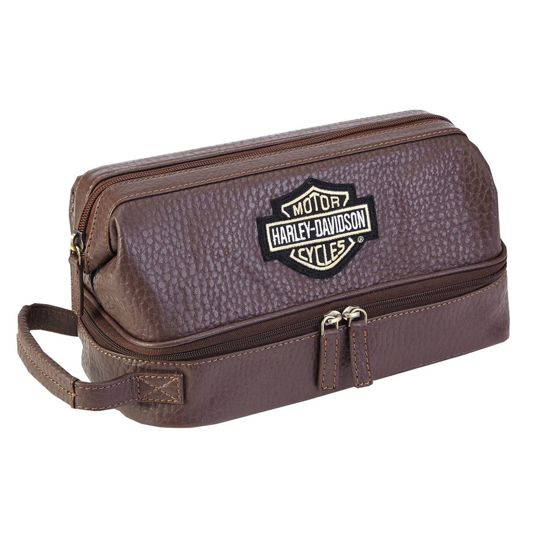 Harley-Davidson® Bar & Shield Distressed Leather Toiletry Kit Brown