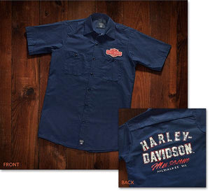 Harley-Davidson® Museum Mens Race-Font Woven Short-Sleeve Work Shirt Shirts