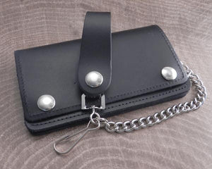 Amigaz Black Leather Biker Chain Wallet