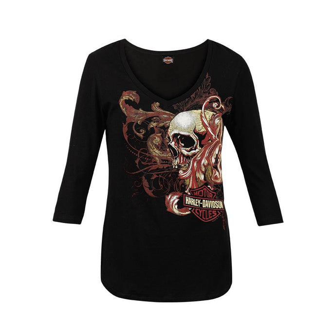 Warr's H-D®  Women's Whirl and Big Ben London 3/4 Sleeve Tee