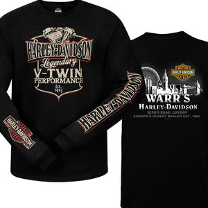Warr's H-D® Men's V-Twin Sign and Metropolis at Night Long sleeve Tee