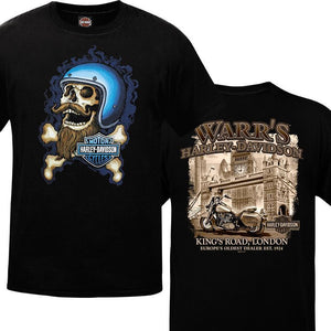 Warr's H-D® Men's Hip Skull and London in Sepia Tee