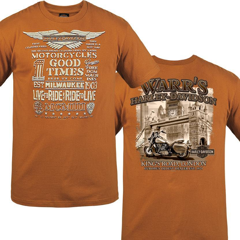 Warr's H-D® Men's Worlds Finest and London in Sepia Tee