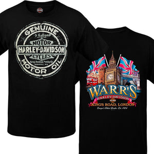 Warr's H-D® Men's Tin Oil Sign and Big Ben London Tee