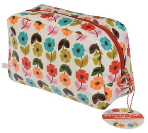 Mid Century Poppy Wash Bag - Bluebells of Bath