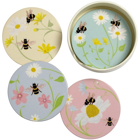 Set Of Four Round Bee Coasters bluebells of bath