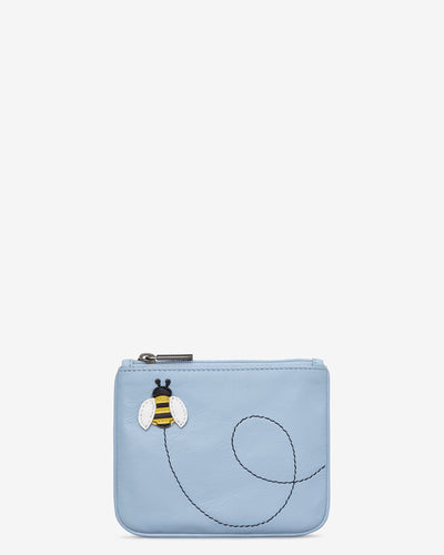 Bumble Bee Blue Leather Zip Top Purse - Bluebells of Bath