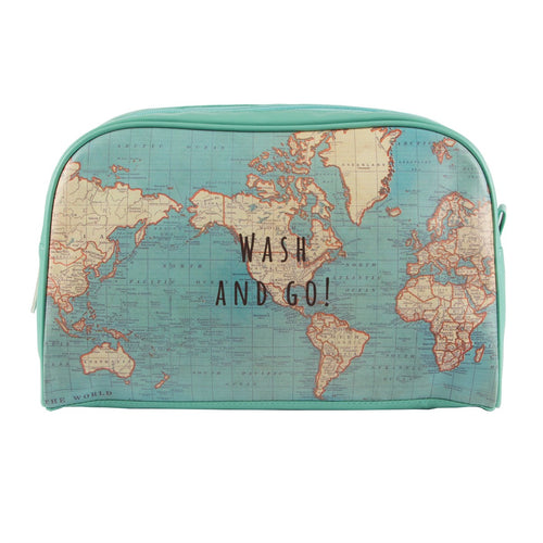 Vintage Map Wash Bag - Bluebells of Bath