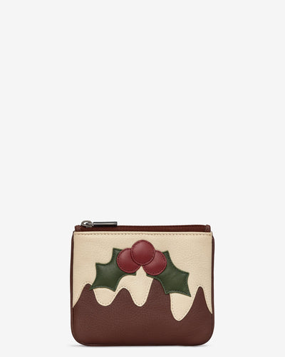 Christmas Pudding Zip Top Leather Purse bluebells of bath