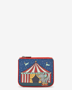 Circus Tent Zip Top Leather Purse bluebells of bath