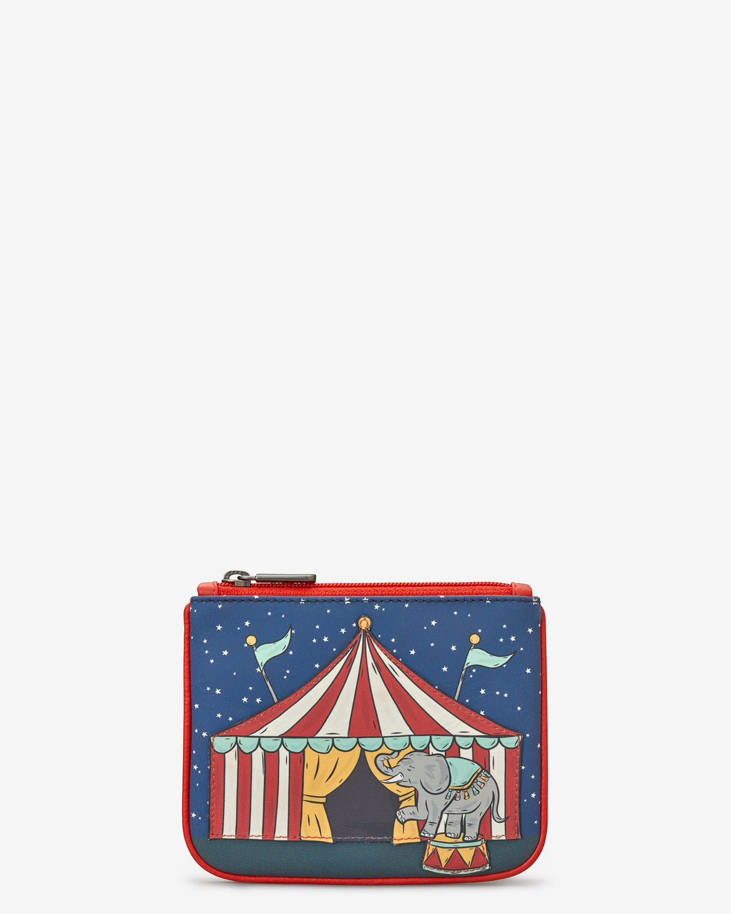 Circus Tent Zip Top Leather Purse - Bluebells of Bath
