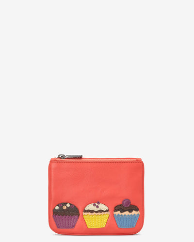 Cupcake Coral Leather Zip Top Purse - Bluebells of Bath