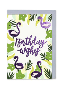 Flamingo Birthday Wishes Greeting Card - Bluebells of Bath
