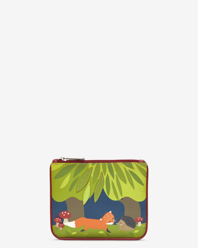 Fox and Hedgehog Zip Top Leather Purse bluebells of bath