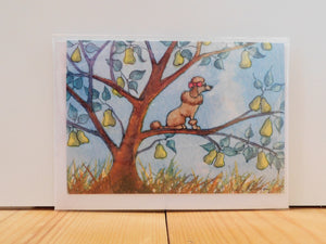 'And a Poo-oodle in a Pear Tree' Greeting Card - Bluebells of Bath