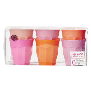 Pink and Orange 6 Medium Melamine Cups - Bluebells of Bath