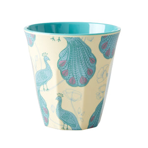 Peacock Print Medium Melamine Cup - Bluebells of Bath