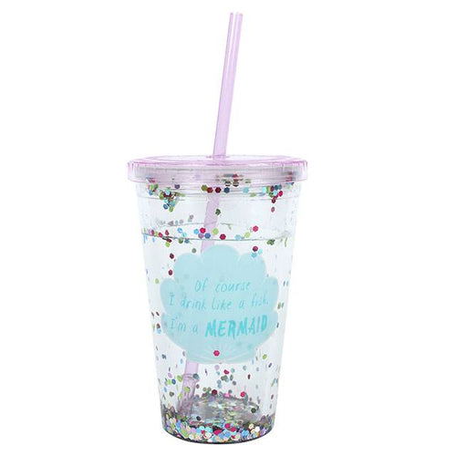 Purple Mermaid Sequin Cup with Straw - Bluebells of Bath