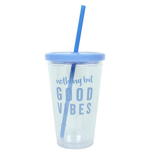 Good Vibes Drinking Cup with Straw - Bluebells of Bath