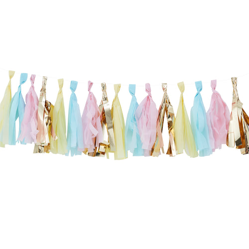 Gold & Pastel Tassel Garland - Bluebells of Bath