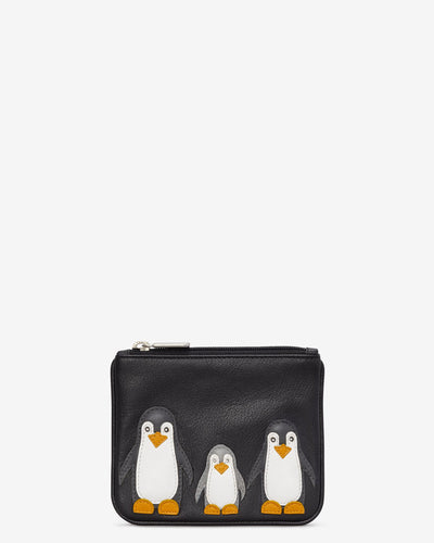 Penguin Pals Zip Top Black Leather Purse - Bluebells of Bath