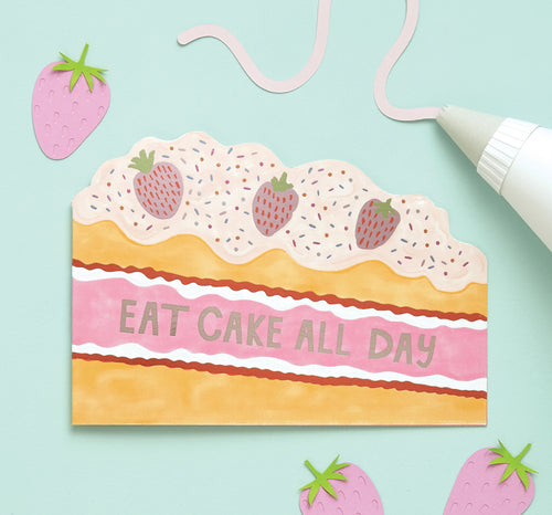 Eat Cake All Day Card - Bluebells of Bath