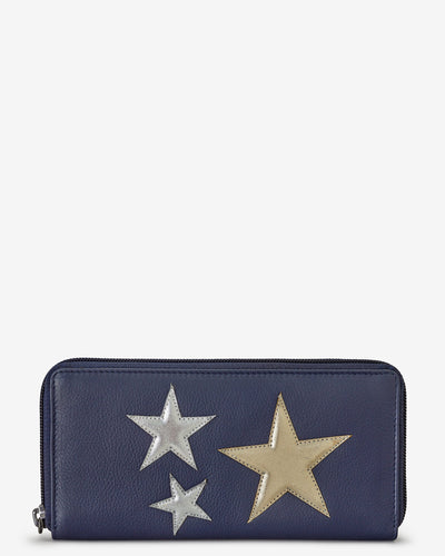 Stars Navy Leather Baxter Purse bluebells of bath