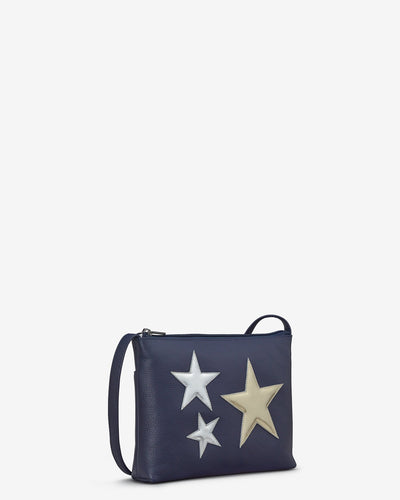 Stars Navy Leather Cross Body Bag - Bluebells of Bath