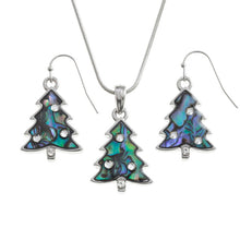 Christmas Tree Paua Shell Necklace and Earring Set bluebells of bath